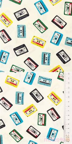 """white cotton fabric with small blue, green, yellow, black, grey, red etc. music tapes, Material: 100% cotton, Fabric Type: smooth cotton fabric, Fabric Width: 112cm (44"""") #Cotton #Items #USAFabrics Retro Fabric, Fabric Patterns, White Cotton, Yellow Black, Blue Green, Cotton Fabric, Smooth, Type"""