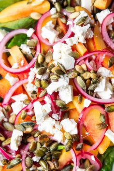Last summer we had so many peaches so this year I'm ready with all my recipes with peaches. Salad Menu, Salad Dishes, Easy Salad Recipes, Easy Salads, Healthy Recipes, Crab Stuffed Avocado, Cottage Cheese Salad, Feta Salat, Seafood Salad