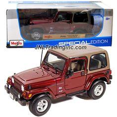 "Maisto Special Edition Series 1:18 Scale Die Cast Car -  Maroon Sports Utility Vehicle JEEP WRANGLER SAHARA (SUV Dimension: 8"" x 3-1/2"" x 3-1/2"")"