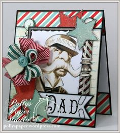 Cool Father's Day Card by Ginny using Crafty Secrets Barber Shop Digital Kit for Let's Hear it for the Boys - June Linky Party and DT Challenge. Includes links to other DT samples and some great Linky Entries.