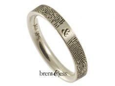From www.brentjess.com - Narrow You and Me Forever Fingerprint Wedding Ring in Sterling Silver - Custom handmade fingerprint jewelry by Brent&Jess