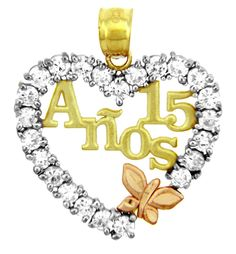 quinceanera jewelry | ... Gold Birthday - Quinceanera Pendant in Cubic Zirconia with Butterfly