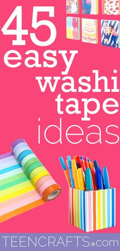 Easy Washi Tape Crafts - Cool DIY Ideas With Washi Tape - Creative Craft Projects for Teens - Cheap DYI Idea for Teenagers Crafts For Teens To Make, Craft Projects For Kids, Diy For Teens, Craft Ideas, Diy Ideas, Diy Projects, Cool Paper Crafts, Easy Diy Crafts, Creative Crafts