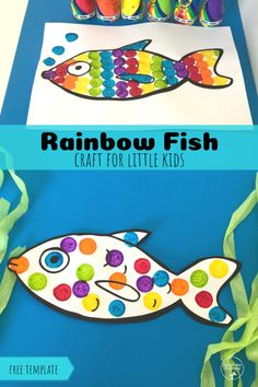 Rainbow Fish Craft - Teach Me Mommy - Rainbow Fish Craft, easy craft from toddler age upwards with room for creativity. Free template inc - Easy Preschool Crafts, Easy Toddler Crafts, Easy Arts And Crafts, Crafts For Girls, Fisher, Rainbow Fish Crafts, Free Worksheets For Kids, Fish Activities, Fish Template