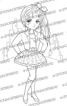 Digital Stamp 80s Fashion City Girl, Digi Coloring Page, 1980s Eighties Punk, Graphic Retro Style, Scrapbooking Supplies, Instant download