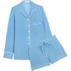 Equipment Lillian striped washed-silk pajama set ($195) ❤ liked on Polyvore featuring intimates, sleepwear, pajamas, pijama, light blue, silk pjs, equipment pajamas, striped pjs, striped pajama set and striped pyjamas