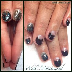 Hand painted half-moon mani with real feather embellishments. COLOR: #TheDarkSide by #Gelish. #wellmanicured #nails #nailart #nailartist #nailstylist #nails2desire #nailartclub #gel #manhattanbeach #hermosabeach #intheheartofthesouthbay #halfmoonmani #feathermanicure #tealgreen #gelpolish #freehand #reversefrench #feathermani #Padgram