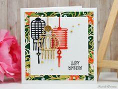 Jardin d'Asie : Carte d'anniversaire esprit Japonais / Japanese lantern birthday card