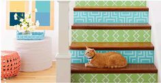 Looking for an easy way to update your staircase? Do it with paint. Create riser covers with plywood, paint, and our free downloadable stencils: http://www.lowes.ca/content/framed/CreativeIdeas.aspx#/2012/05/29/stencil-plain-stair-risers/?helper=http://www.lowes.ca/content/framed/resizeci.aspx?helper=http://www.lowes.ca/content/framed/resizeci.aspx