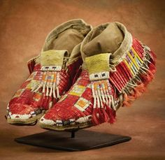 Lakota quillwork moccasins