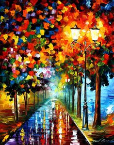Happiness of Autumn — PALETTE KNIFE Landscape Oil Painting On Canvas by Leonid Afremov, $299.00