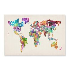 Art Map of the World Text Canvas – A1 from World Maps & Globes - R529 (Save 29%)