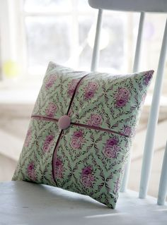"""This pleated cushion cover is easier to make than it looks, and can be made in any size you like as long as the patterned pieces of fabric are cut square. I'm using a 30.5cm [12""""] cushion pad, and a 6mm [1/4""""] seam allowance.  Materials:  Four 15cm [6""""] squares of patterned fabric 2...  Read more »"""