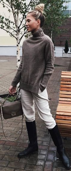 cozy inspiration sweater bag white pants high boots