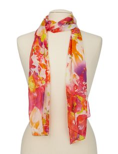 This beautiful lightweight scarf features a vibrant floral print.