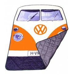 Campervan Gift - Volkswagen Orange Campervan Quilted Picnic Blanket, (http://www.campervangift.co.uk/volkswagen-orange-campervan-quilted-picnic-blanket/)