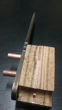#NightTurtleKnives NightTurtleKnives.etsy.com O1 Tool Steel. Zebra Wood Handle w Copper Tubes and Liners.
