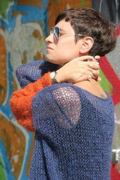 """Grunge Sweater / Свитер """"Гранж"""" - синий, синий цвет, оранжевый, осенний, легкий, свитер, свитер вязаный"""