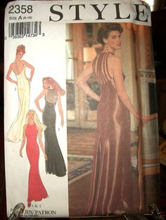 Style Pattern 2358 Uncut 30s 40s Beaded Back Formal Evening Gown 6 8 10 12 14 16 | eBay
