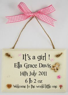 Personalised New Baby Wooden Plaques and Signs.Personalised with babies name,date of birth and weight-Only £9.99 the perfect new baby gift   http://www.gemmajanedesigns.co.uk