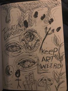 Sketchbook Drawings, Art Drawings Sketches Simple, Cool Drawings, Arte Grunge, Grunge Art, Trippy Drawings, Trash Art, Art Diary, Indie Art