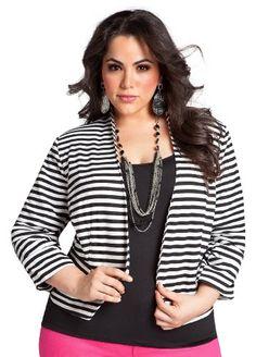 7cfd1c3a8e0 Ashley Stewart Women s Striped Ponte Knit Jacket