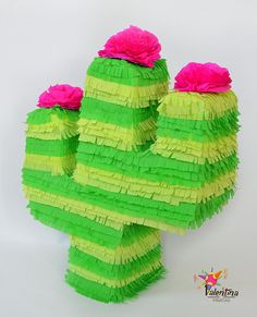 Handmade Piñata Cactus shock, ideal for a colourful party!  Size: approx. 60CM H x 48CM L x 16 W  The Piñata is a hidden opening to the fill feature.  But, what is a Piñata? A piñata is a handmade papier-mâché figure, decorated with coloured paper, which is then cut into part of the game. Goal is to crack the piñata and free the delicious contents!  IMPORTANT: Children should play the game always under adult supervision.