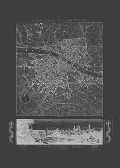 FLORENCE MAP ART Blueprint Map of Floence by EncorePrintSociety