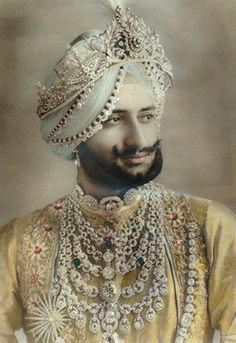 Yadavindra Singh, Maharaja of Patiala. Wearing the Patiala Necklace commissioned in from Cartier in 1928 by his father.