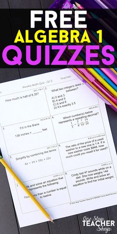 FREE Algebra 1 Weekly Math Quizzes.  These Algebra 1 Quizzes are aligned with the common core math standards. These Algebra 1 assessments can also be used as quick checks, spiral math review, and progress monitoring.