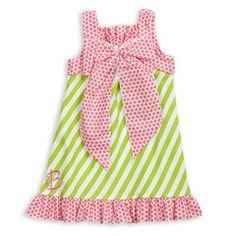 Lime Stripe Hot Pink Dot Ruffle Maddie Dress