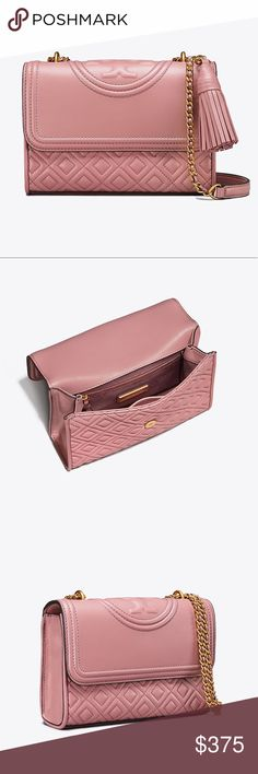 "TORY BURCH 💯Auth Fleming MED Shoulder Bag Guaranteed Authentic! This is the Medium Fleming convertible bag in Pink Magnolia. Slightly darker than Shell Pink.   Holds a 7"" tablet, a continental wallet, a phone and a lip color Leather Flap with magnetic snap closure Adjustable leather-and-chain strap with 23.31"" (58.5 cm) drop 1 exterior back pocket 2 interior slit pockets, 1 zipper pocket Removable tassel May be carried as a shoulder bag or cross-body Height: 7.97"" (20 cm); length: 10.76""…"