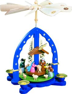 Pyramide Christi Geburt, blau