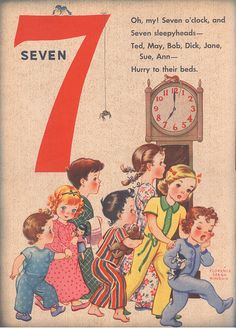 Number Seven - artwork by Florence Sarah Winship [Published: 1942 Whitman Publishing] Nursery Rhymes Lyrics, Old Nursery Rhymes, Counting Rhymes, English Stories For Kids, Pomes, Kids Poems, Photo Vintage, Preschool Songs, Jolie Photo