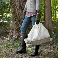 We love a craft project with purpose: This jaunty firewood carrier is made from a canvas bag -- and only costs $15 to make!