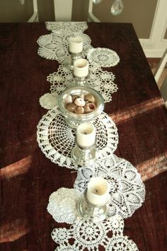 Doilies sewn together to make a vintage style table runner @ Adorable Decor : Beautiful Decorating Ideas!Adorable Decor : Beautiful Decorating Ideas!