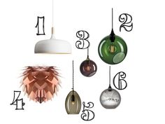 Lamp wish list: copper and colored glass pendant lamps by House Doctor and Design by Us among among others. Scandinavian and Danish design.