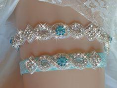 Something Blue Aqua Glitter Garter, Wedding Garter Set, Bridal Garter Belts, Rhinestone Garter, Bling Bridal Accessories, Wedding Garder by bridalambrosia on Etsy