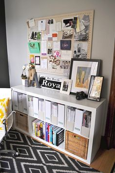 Magazine Storage and Pin Board; could totally do this with my pottery barn linen pinboards and upholstery nails.
