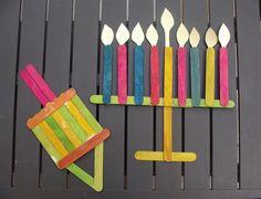 Chanukah Popsicle Stick Dreidel and Menorah