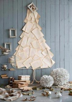 Christmas tree out of vintage book pages