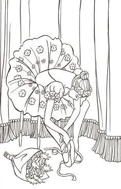 발레리나 컬러링북 - 인터넷교보문고 Dance Coloring Pages, Cute Coloring Pages, Adult Coloring Pages, Coloring Books, Embroidery Applique, Embroidery Stitches, Embroidery Patterns, Machine Embroidery, Dance Crafts