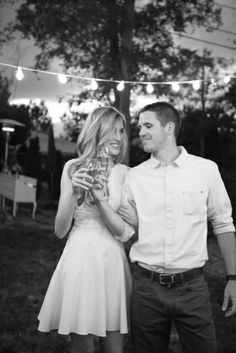 Backyard summer engagement party featured on milehighbride.com Photography: Connie Dai Photography / Event Design: A Vintage Affair Events & Rentals / Floral Design: Bare Root Flora / Lighting: Lighting and Design by Scott / Linens: La Tavola