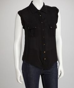Take a look at this Black Sleeveless Button-Up by Grass on #zulily today!