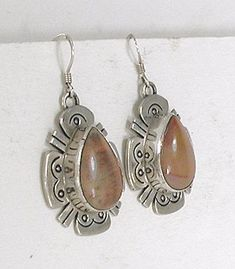 Authentic Native American stamped sterling silver and jasper wire earrings by Navajo artist Charles Johnson