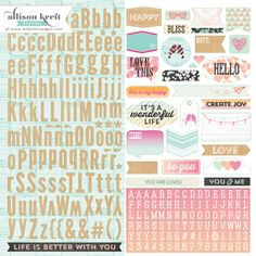 Websters Pages - Sprinkled with Love - 12 x 12 Cardstock Stickers - Alphabet