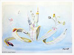 ARTWORK DETAILS   Title: New Yorker Structure   Date:  2014   Medium: Watercolor on paper   Dimensions: 100 x 70 cm   http://jgalant.com/paper