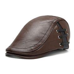 Men Retro PU Leather Lace-up Beret Caps Casual Flat Golf Cabbie Hats Adjustable