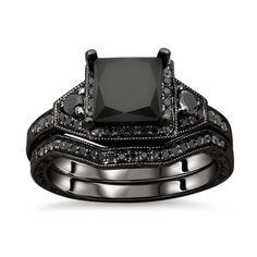 14k Gold 2ct TDW Certified Black Princess Cut Diamond Bridal Set