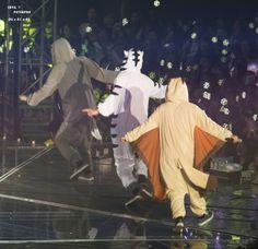 Sehun (wolf), Chanyeol (white tiger) and Baekhyun (flying squirrel)The so sergisi? Baekhyun Chanyeol, Exo K, Park Chanyeol, Exo Ot12, Chanbaek, K Pop, Exo Showtime, Exo Concert, Xiuchen